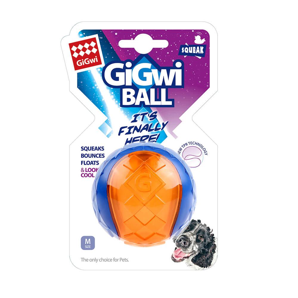 GiGwi球就是經典- 玩具中啾球單顆(橘藍透色)