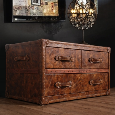 MUSE-Lancaster蘭開斯特復古工業風牛皮收藏箱