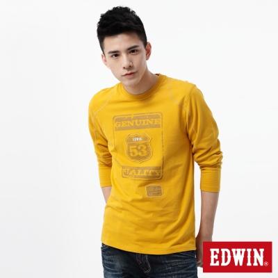 EDWIN-T恤-斑駁印繡圓領T恤-男-土黃