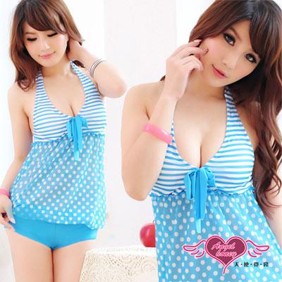 天使霓裳 夏日心機 一件式連身泳裝 比基尼泳衣(淺藍)