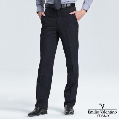 Emilio Valentino 范倫提諾保暖條紋平面西褲-丈青