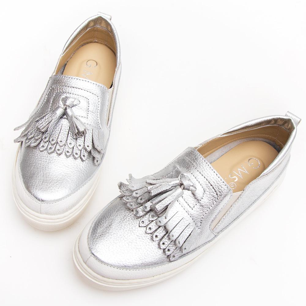 G.Ms. MIT系列-流蘇拼接雙色牛皮厚底休閒鞋-銀色