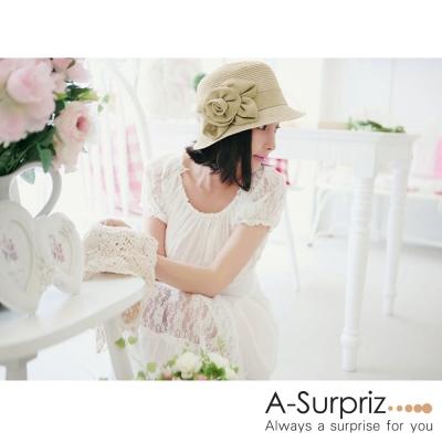 A-Surpriz 優雅立體花朵遮陽帽(卡其)