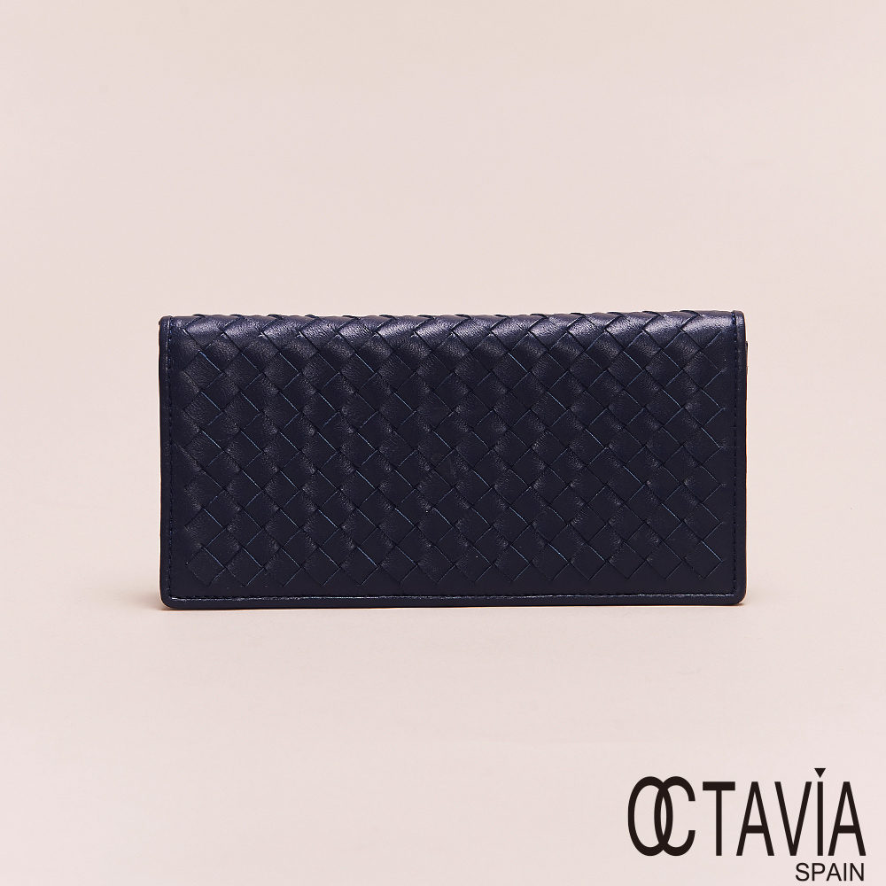 OCTAVIA8真皮 - 男仕系列 頂級羊皮編織二折長夾 - 幸福藍