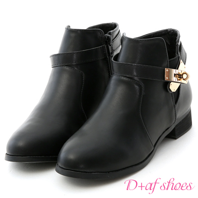 D+AF 名品精選.質感金屬鎖釦低跟短靴*黑