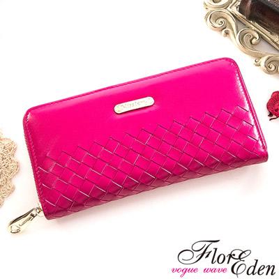 DF Flor Eden皮夾 - 巴黎簡約系列羊皮編織款單拉鍊長夾-甜美桃