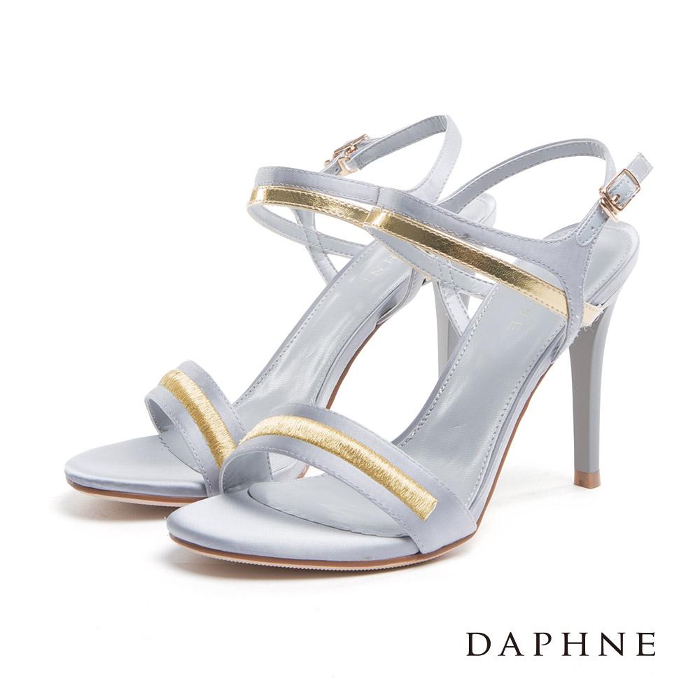 達芙妮DAPHNE 涼鞋-一字帶金屬絲光緞面高跟涼鞋-灰