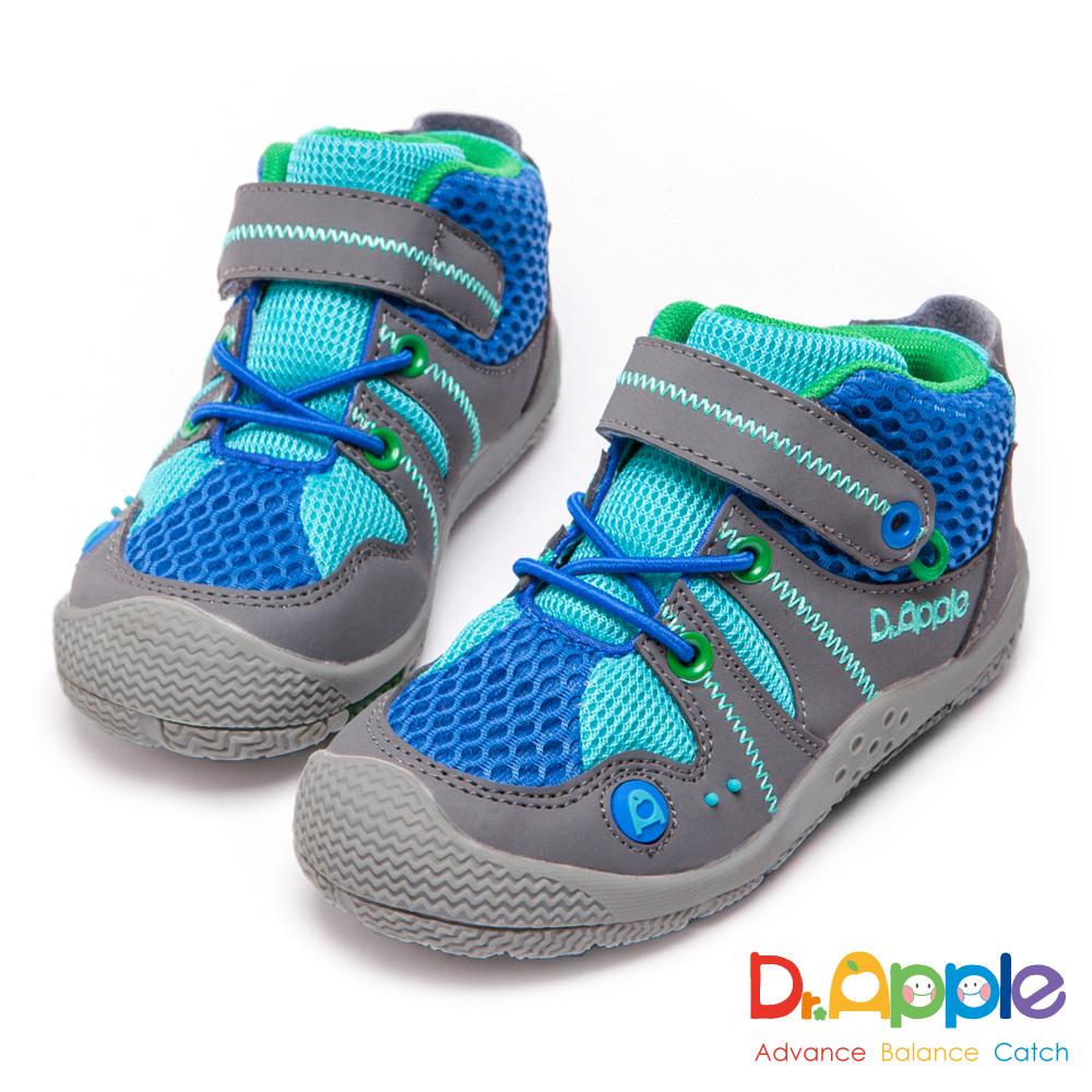 Dr. Apple 機能童鞋 拼接網布短筒運動鞋-藍