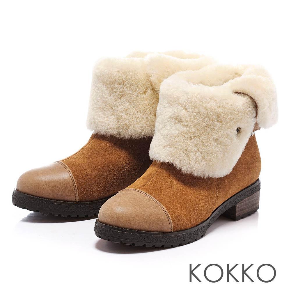 KOKKO 玩酷風潮 - 保暖真皮2Way毛毛雪靴 - 駝