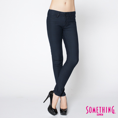 SOMETHING 繁花色系 LADIVA 印花合身窄直筒褲-女款(灰藍)