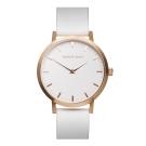 Barbas&Zacari 澳大利亞精品手錶 原始系列白色錶盤/皮革錶帶 玫瑰金錶框43mm