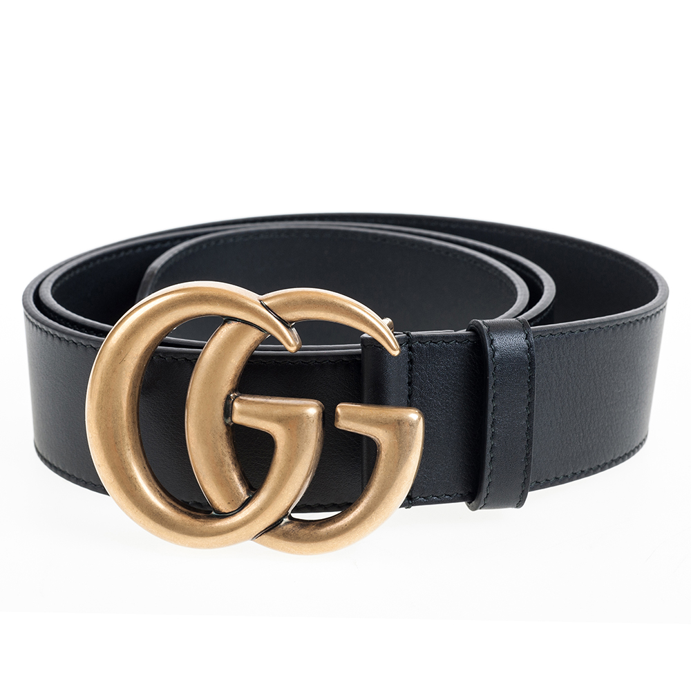 GUCCI 復古GG金屬釦環LOGO寬版滑面皮帶 (金色/4CM)