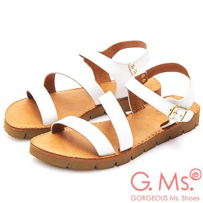 G.Ms. MIT系列-牛皮一字繞踝鋸齒底涼鞋-白色
