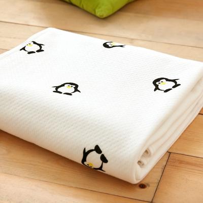 美夢元素 純棉針織天然纖維透氣涼毯-100*150cm(可愛企鵝)
