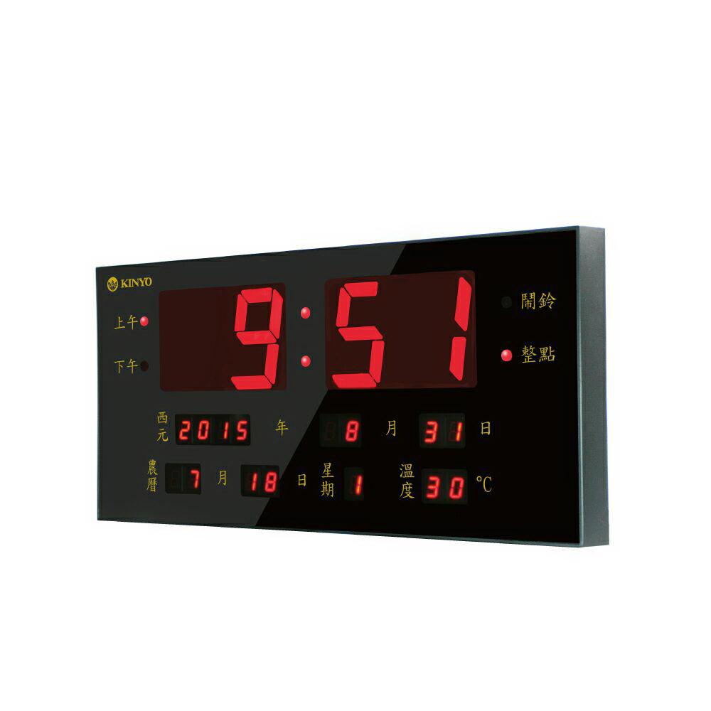 KINYO LED多功能數位萬年曆電子鐘/鬧鐘(TD-300)USB/AC雙用