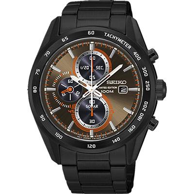 SEIKO Criteria 限量炫彩太陽能計時碼錶(SSC415P1)-棕x黑/43mm