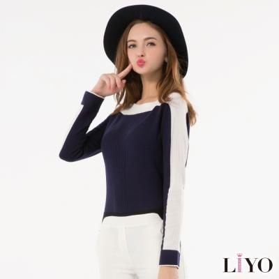 LIYO理優歐風撞色ㄧ字領針織上衣(深藍)-動態show