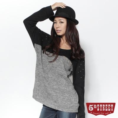 5th-STREET濃韻冬色撞色寬版長袖線衫-女款-黑色