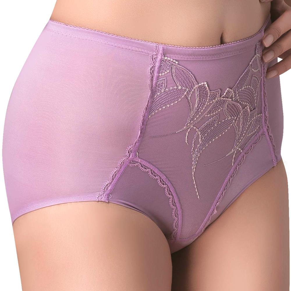思薇爾 羽霓精靈系列M-XXL蕾絲刺繡高腰三角修飾褲(霓煙紫)