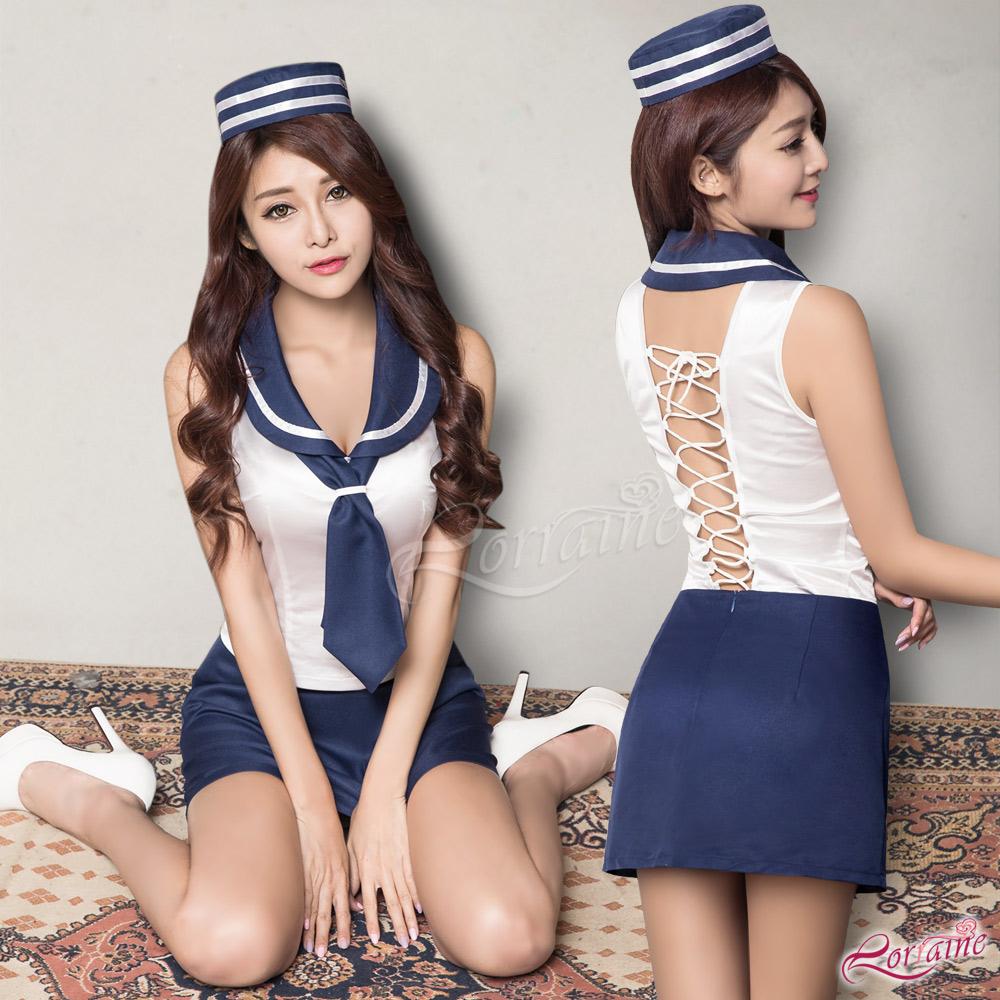 水手服 帥氣性感美背造型海軍角色扮演服四件組(藍F) Lorraine