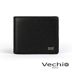 VECHIO - 荔枝壓紋系列4卡零錢袋皮夾 - 經典黑