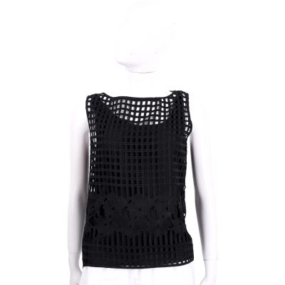 MARELLA 黑色方格縷空設計無袖上衣