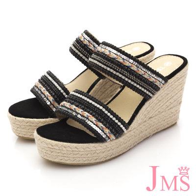 JMS-亮眼配色串珠厚底楔型涼拖-黑色