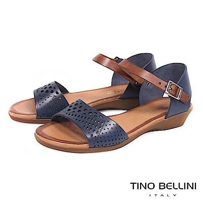 Tino Bellini西班牙進口典雅沖孔小坡跟涼鞋_ 藍