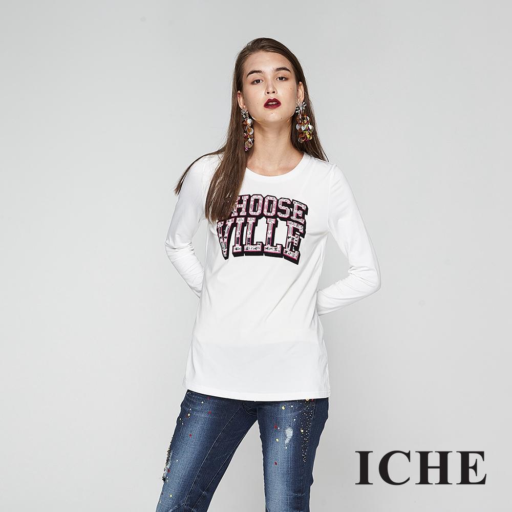 ICHE衣哲 字母印花鑲飾長版造型上衣-白(兩色)