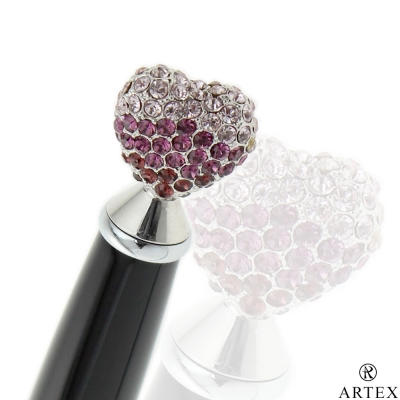 ARTEX 傾訴水鑽 迷你原子筆 粉紫愛心