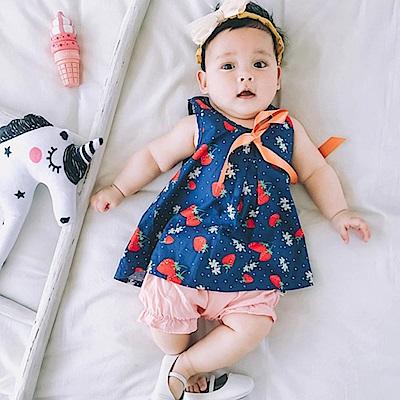 Baby unicorn 深藍草莓緞帶無袖上衣