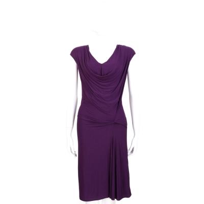 PLEIN SUD JEANIUS 深紫色垂領抓褶設計包袖洋裝