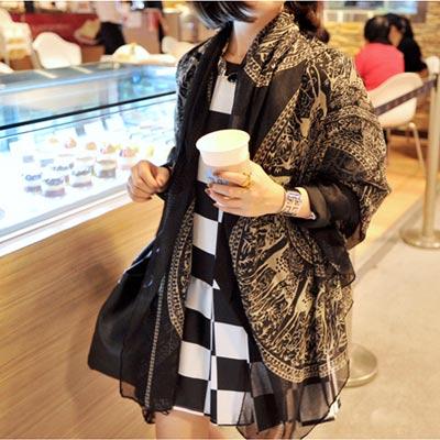 【Aimee Toff】秋氛典雅傅古巴黎紗圍巾(黑)
