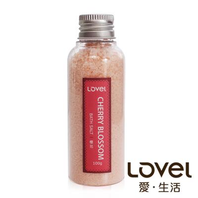 Lovel 天然井鹽/香氛沐浴鹽100g5入組(粉嫩櫻花)