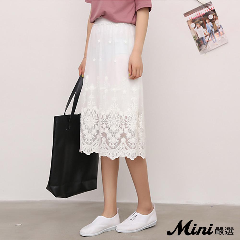 裙子 網紗繡花蕾絲中長裙 白色-Mini嚴選