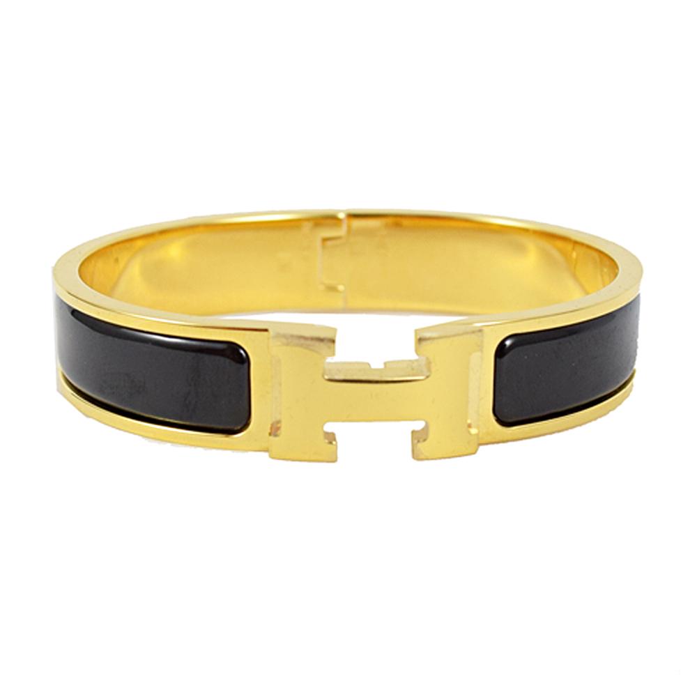 HERMES 經典CLIC H LOGO琺瑯扣式手環.金/黑(GM)