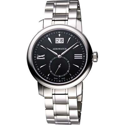 AEROWATCH Renaissance 大視窗小秒針腕錶-黑/鋼鍊帶/40mm