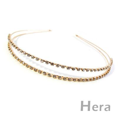 【Hera】星光閃耀 滿鑽雙層簡約造型髮箍(魅影金)