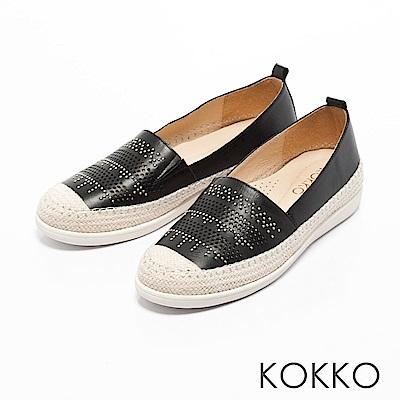KOKKO -涼風野餐麻繩彈力休閒鞋-別緻黑