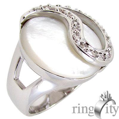 RingCity 珍珠母貝白鑽色造型戒