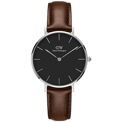 DW Daniel Wellington 經典布里斯托黑棕色皮帶腕錶-銀框/32mm