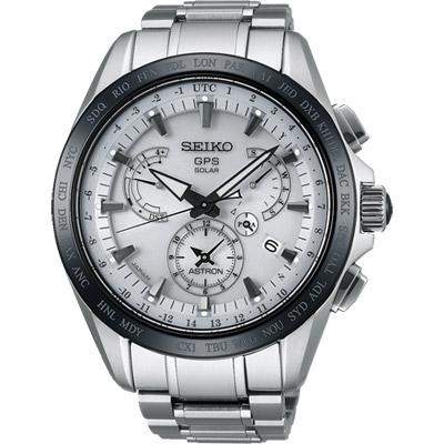 SEIKO ASTRON GPS衛星電波鈦金屬錶(SSE047J1)-銀/45mm