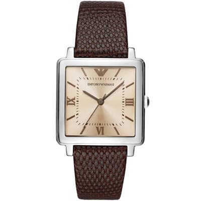 Emporio Armani亞曼尼20週年紀念方形復刻女錶-30mm/香檳X咖啡色