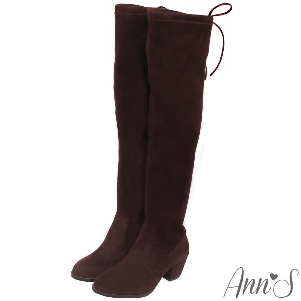 Ann'S纖瘦名模-絨質後蝴蝶結側拉鍊貼腿過膝靴-咖啡
