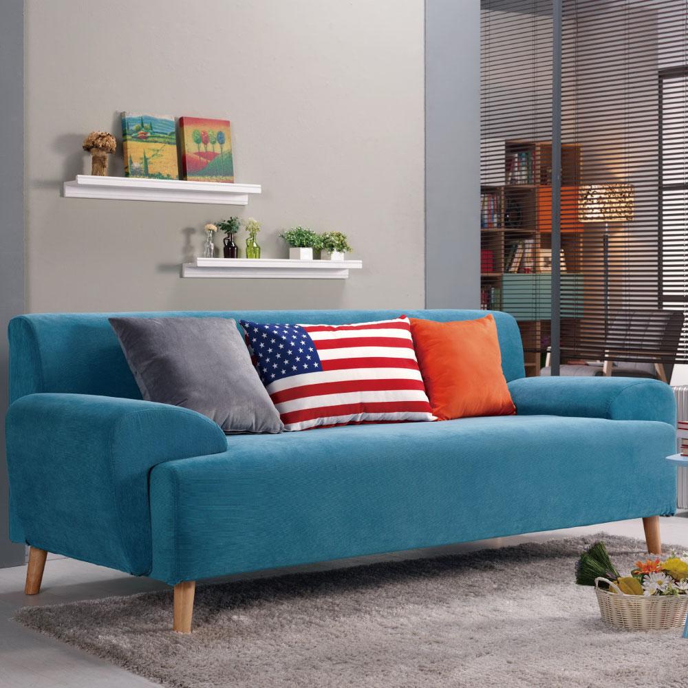 品家居 維奇爾三人座藍色絨布沙發