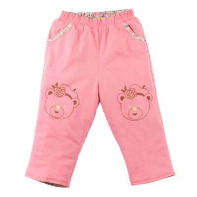 愛的世界 MYBABY 純棉小熊甜心舖棉兩面穿長褲/4~6歲