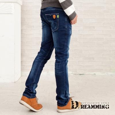 Dreamming 日系皮革盾牌伸縮小直筒牛仔褲