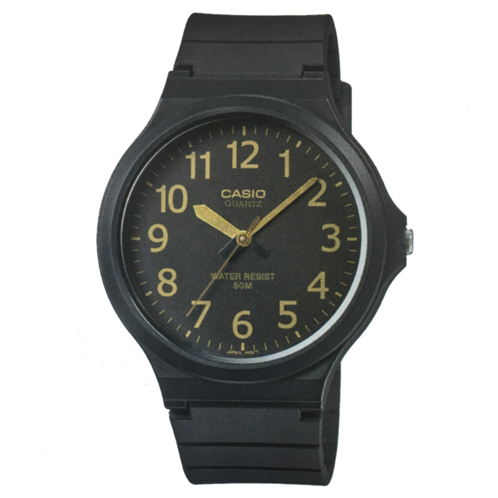 CASIO 超輕薄感實用必備大表面指針錶-(MW-240-1B2)黑x金色數字/45mm