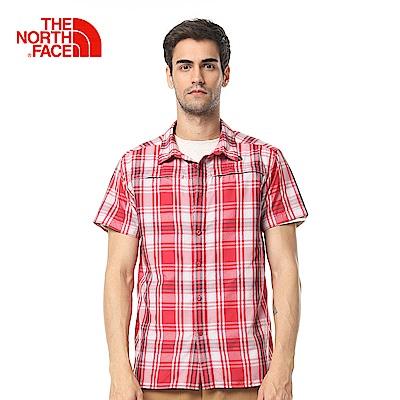 The North Face北面男款紅色格紋舒適休閒短袖襯衫