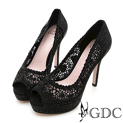 GDC-滿版水鑽雕花簍空真皮細跟魚口鞋-黑色
